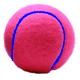 Pink tennis balls with blue seams