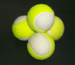 tennis balls in 2 colours