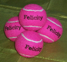 Pink tennis balls personalised