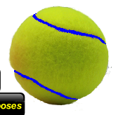 Yellow tennis balls with blue seams