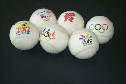 tennis balls branded with 2012  Olympic logo