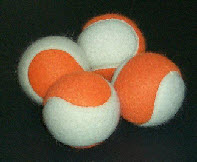 ORANGE AND WHITE 2 COLOR TENNIS BALLS