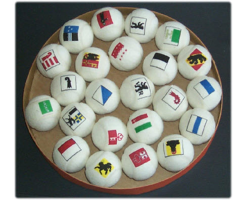 tennis balls branded with flags of the swiss cantons
