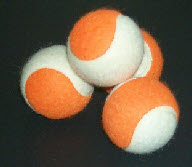 ORANGE AND WHITE TWO COLOUR TENNIS BALLS