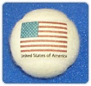 USA flag branded on a tennis ball