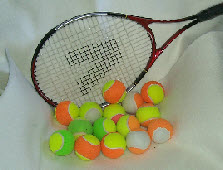 tennis balls  in two colours