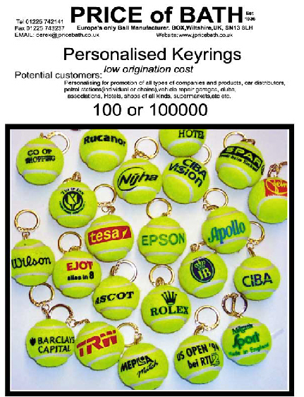 bespoke tennis ball keyrings, personalised,tennis ball keyrings personalized