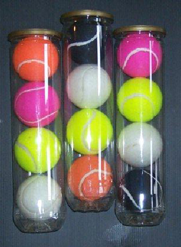 red,blue,yellow,white,black, pink tennis balls